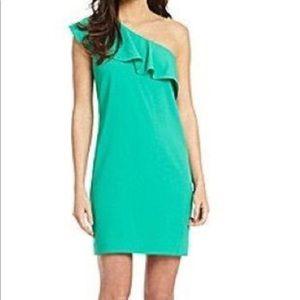 """Gianni Bini """"Frieda"""" Green Ruffle Dress Size 0 EUC"""